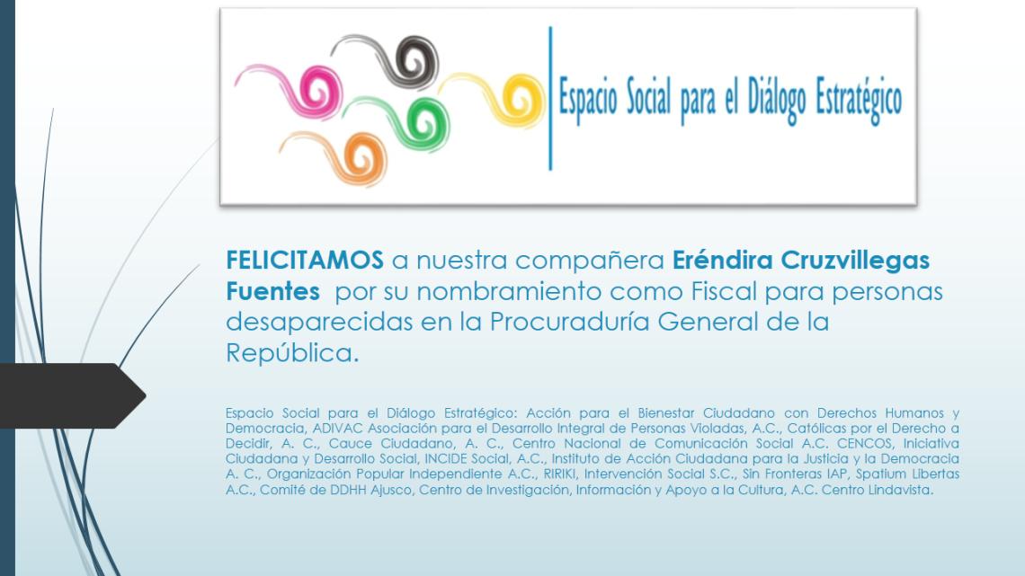 FELICITAMOS a nuestra compañera Eréndira Cruzvillegas Fuentes  por